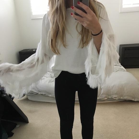 19d3ba1f90b530 Zara Tops | Bnwt White Fringe Top Sweatshirt Blouse | Poshmark